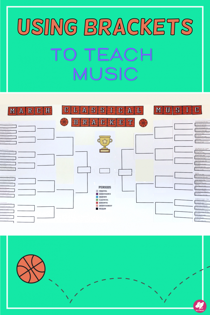 Do you need an engaging music listening activity for your general music class, band, or orchestra? This classical March Classical Music Bracket is a perfect way to add 10-15 minutes of music appreciation to your lessons. It's so easy to make, and the PowerPoint is fully editable! Use any genre of music and get your kids competing for their favorite pieces! #sillyomusic
