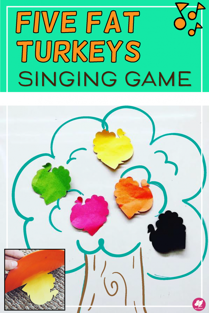 "A Fun and Easy Singing Game for ""Five Fat Turkeys"" that your students will love to play in music calss this November! It's great way to boost your Fall elementary lesson plans for PreK, Kindergarten, and first grade! It's simple to play and requires almost no extra materials. Your primary students will ask for it again and again! #sillyomusic #elmused #musiceducation"