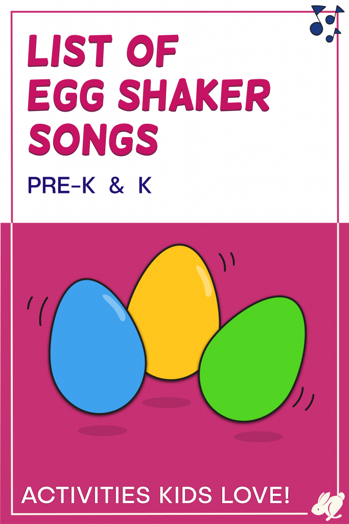 This is a great list of fun egg shaker songs for preschool and kindergarten! Most will even work with toddlers and elementary music classes. The songs can be found online for free and students will have a blast shaking their shaker eggs!